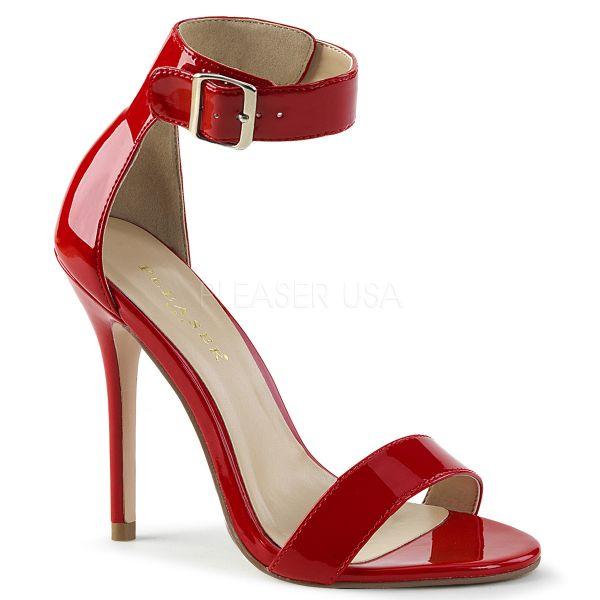 High-Heel Sandalette in rot Lack mit breitem Fesselriemchen und großer silberfarbener Schnalle AMUSE-10